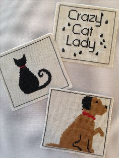 Cross stitch coasters I made for Stacy, Audrey and Taylor...