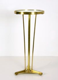 """Antiqued Brass Pierre Table with mirrored top 12"""" diameter, 25""""H"""