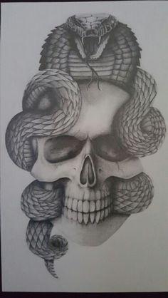 Badass Drawings, Skeleton Drawings, Skeleton Tattoos, Skull Tattoos, Tattoo Drawings, Dragon Eye Drawing, Snake Drawing, Snake Art, Bear Tattoos