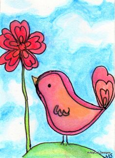ACEO Original Art Drawing  Bird with his Flower by ArtsyCatDesigns, $6.00