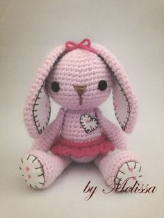 I love how this amigurumi bunny totally went up a level with just a bit of stitching on the feet and ears, I'll have to keep that in mind. by Tia Oberholster