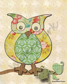 Nursery Art Print Cute Owl 5x7 by sophiebellaart on Etsy, $10.00