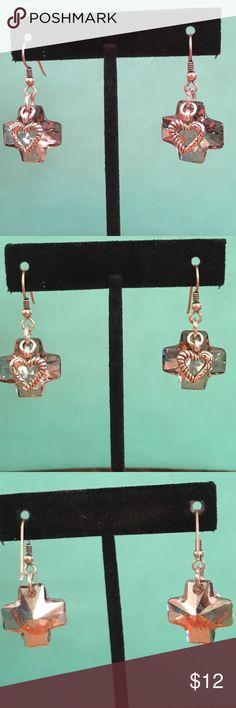 """Darling silver heart over crystal cross earrings Cross drop is 1"""" in length! Cute earrings no brand Jewelry Earrings"""