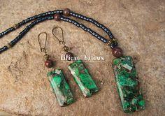 collier et boucles d'oreilles jaspe vert et marron ( pièce unique ) : Parure par lilicat