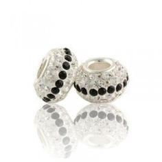 Silver White And Black Amazing Crystal Bead
