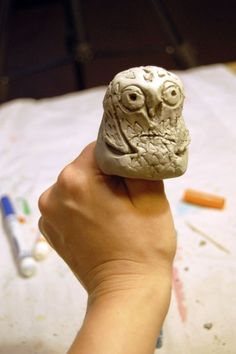 Clay Thumb Owls - 1st grade?