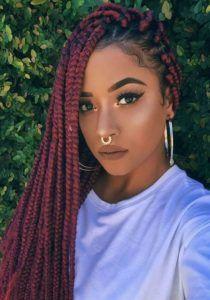 30 Awe-Inspiring Red Box Braids Hairstyles You Will Love! - Part 38 Box Braids Hairstyles For Black Women, Black Girl Braids, Girls Braids, Braid Hairstyles, Protective Hairstyles, Hairstyles 2018, Trendy Hairstyles, Dreadlock Hairstyles, Hairdos