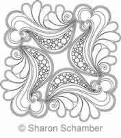 Digital Quilting Design Sea Foam Feathers Block 1 by Sharon Schamber.