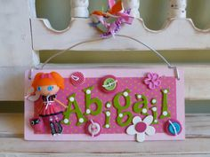 Lalaloopsy Personalized Name Plaque Ornament Wall Hanging Girl Dolls Toy Custom Doll Plaque Party Favor Door Hanger on Etsy, $22.00