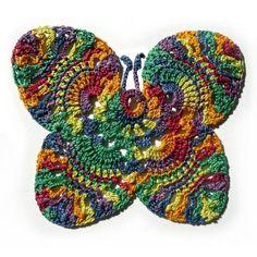 -Rainbow Handmade Crochet Butterfly Cotton Colorful Adorn Rainbow