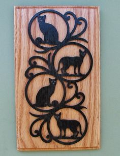 Cat Wall Hanging Plaque Cut On Scroll Saw by DukesScrollSaw, $8.50