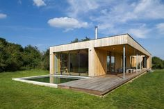 Love the clean lines and straightforward floorplan. Modern Weekend House in Bus, Czech Republic Wooden Architecture, Residential Architecture, Interior Architecture, Interior Design, Weekend House, Contemporary House Plans, Wooden House, Prefab, Beautiful Homes
