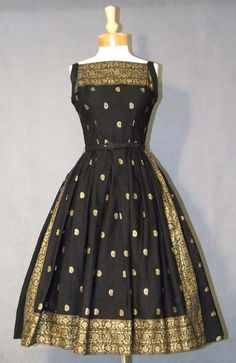1950's Black Cotton Sundress with Gold Border Design.  . .