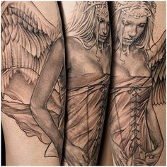 Beautiful angel tattoo; I'd never get it but it's a good tat