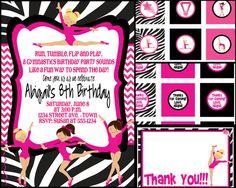 Zebra Gymnastics Birthday Party Invite