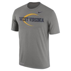 Head out to Mountaineer Field and cheer on the team in comfort wearing our WVU Nike Football Icon Legend T-shirt.  With Nike Dri-FIT technology you can look cool and be cool.