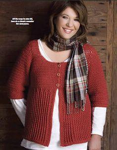Ravelry: Rib Stitch Cardigan pattern by Kim Guzman 9 sizes up to 6X