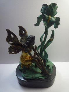 森の妖精 ブロンズ像 彫刻 台座大理石 作Milo 高約22cm_画像1