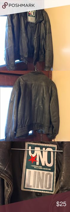 Vintage leather coat-Price firm Vintage men's size L leather bomber coat. In good condition. From a pet friendly, smoke free home. Jackets & Coats Bomber & Varsity