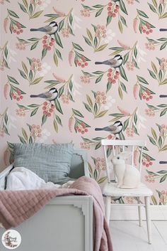 Sparrow With Flowers wall decor, Leaves removable wallpaper, Sparrow wall mural, Peel and stick, Reusable, Repositionable, Removable MAF022