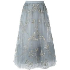 Valentino Valentino Butterfly Embroidered Tulle Skirt (184.280 ARS) ❤ liked on Polyvore featuring skirts, a-line skirt, tulle skirt, blue a line skirt, knee length a line skirt and blue tulle skirt