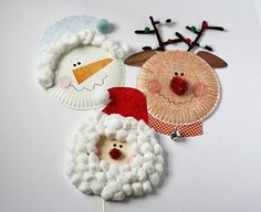 Paper Plate Christmas Characters: Santa, Rudolph, Snowman.  Click on site for other easy kid christmas crafts/