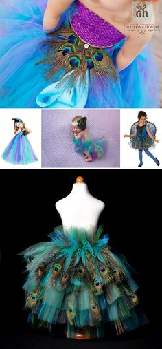 Uhhhh- can I get one of these? I'd totally rock that tutu there in the bottom pic. Halloween 2016, Holidays Halloween, Happy Halloween, Halloween Party, Halloween Costumes, Peacock Costume, Peacock Skirt, Peacock Tutu, Peacock Colors