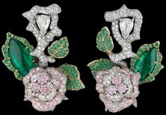 Dior Fine Jewellery Le Bal des Roses, Bal de Mai earrings in white and yellow gold with diamonds, fancy pink, lilac and mauve diamonds and emeralds. Via The Jewellery Editor.