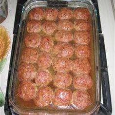 Ham Balls Allrecipes.com  Going to try ground turkey ham & turkey sausage for these...