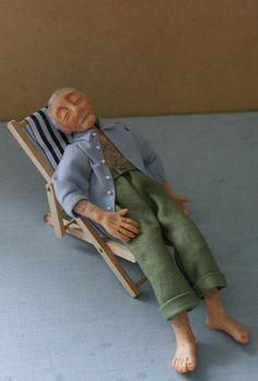 Bernard, handsculpted miniature doll in 1/12th (one inch) scale. $110.00, via Etsy.