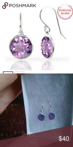 Earrings CLEARANCE NWT...Genuine 3 CTW amethyst lollipop drop earrings in Sterling Silver A & M fine jewelry  Jewelry Earrings