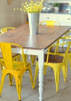"diy rustic kitchen table... ""wood laminate flooring"" used as a tabletop..."