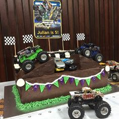 Custom cakes, cupcakes, cake pops, cookies and macarons in Singapore. 3D cakes, 2D cakes, character cakes Festa Monster Truck, Monster Truck Birthday Cake, Monster Trucks, Monster Truck Cakes, Monster Jam Cake, Blaze And The Monster Machines Cake, Cars Birthday Parties, 5th Birthday, Birthday Ideas