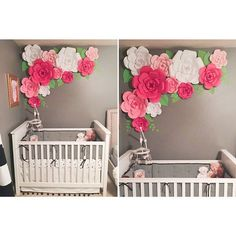 Hola chicas(os) I absolutely love it when you folks share your pics. Thank you Christina for buying my patterns, sharing these pics and… Paper Flowers Craft, Giant Paper Flowers, Fake Flowers, Flower Crafts, Nursery Room, Girl Nursery, Little Girl Rooms, Room Girls, Princess Room