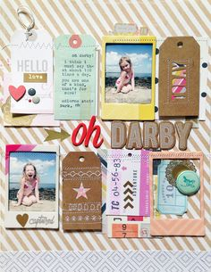 Love the way these tags and frames have been stitched onto the scrapbook page. It's a great way to incorporate detail without adding a whole lot of distracting embellishments to the page.