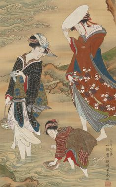 japaneseaesthetics:[detail] Two women and a girl on the seashore. Color and gold on silk panel. Late 18th to early 19th century, Japan, by artist Utagawa Toyoharu. Gift of Charles Lang Freer . Freer Gallery of Art and Arthur M. Sackler Gallery