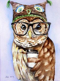 ooak Original Owl Art 5 x 7original watercolor painting by asho, $11.00