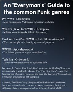 guide to the common punk genres