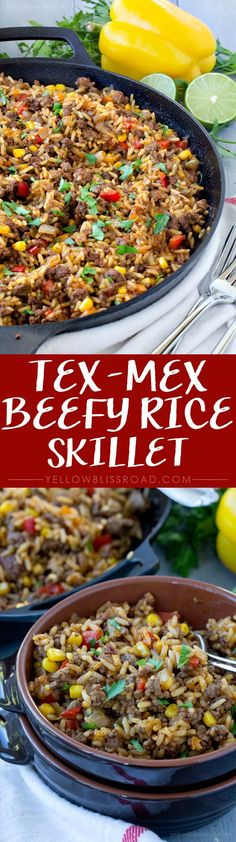 One Pan, 15 Minute, Beefy Rice Skillet. A great quick and easy weeknight dinner.