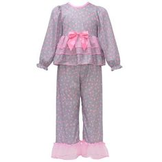 Laura Dare Little Girls Grey Pink Heart Print Long Sleeve 2 Pc Pajama Set 5