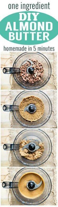 DIY Almond Butter - DIY Almond Butter - One ingredient homemade...  DIY Almond Butter - DIY Almond Butter - One ingredient homemade almond butter that is easy to make! Spread this almond butter on toast for a delicious and healthy breakfast. Recipe from www.theworktop.com. #almondbutter #diyalmondbutter #healthybreakfast Recipe : http://ift.tt/1hGiZgA And @ItsNutella  http://ift.tt/2v8iUYW