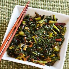 Recipe for Spicy Asian Stir-Fried Swiss Chard is #Vegan, #GlutenFree, and #Easy to Cook. [from KalynsKitchen.com]