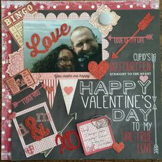 Perfect Valentine's Day Love layout with die cuts made with the Silhouette Cameo - Scrapbook.com