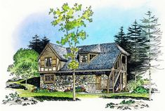 797 sq Eplans Garage Plan - Big Garage and a Compact Apartment - 797 Square Feet and 2 Bedrooms from Eplans - House Plan Code Garage Loft Apartment, Apartment Floor Plans, Garage Apartments, Bedroom Apartment, Family House Plans, Country Style House Plans, Small House Plans, Alternate Exterior, Carriage House Plans