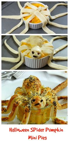 Halloween spider pumpkin pies that look scary! I have served these at a dinner party and everyone loved them.