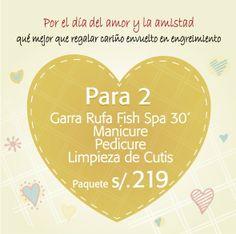 San Valentín se celebra en pareja, entonces qué mejor que engreírse juntos en @Toque X. Paquetes Para 2: Garra Rufa Fish Spa 30', Manicure, Pedicure y Limpieza de cutis, todo para 2 s/219. Sorpréndela o sorpréndelo con este regalo de a dos.