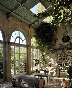 Gorgeous sunroom- I like how all the interior walls of this room are actually exterior finishes.