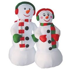 6' Airblown Inflatable Snowman Couple Lighted Christmas Yard Art Decoration