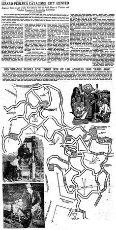 Ancient Tunnels discovered under downtown Los Angeles, 1930's. after this article was printed, the story was 'hushed up', and then hidden from view.