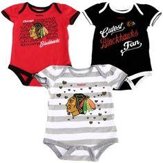 Her First Blackhawks Gear -- Baby Tucker   Girls Infant Chicago Blackhawks Multi 3-Piece Creeper Set